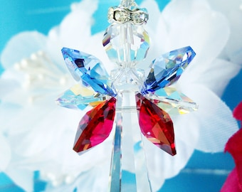 Red White and Blue Guardian Angel Crystal Suncatcher, Swarovski Crystal Suncatcher, Window Sun Catcher