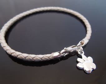 3mm Pearl White Braided Leather Bracelet With 925 Sterling Silver Dog's Paw Dog Lover's Charm