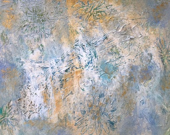 """Abstract Acrylic Painting, Original 9"""" x 12"""" White Gold Modern Wall Art Home Decor on Paper"""