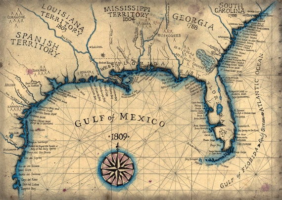Gulf Coast 1809 Southeast Map Art 135 x 19 Old