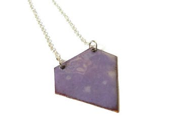 Purple diamond necklace made of enameled copper