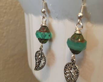 Teal and silver earrings