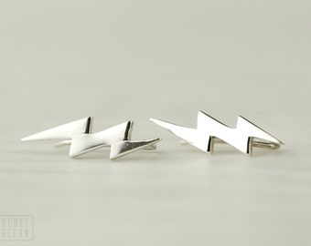 Sterling Silver Ear Cuff Lightning Bolt Ear Sweep Pin Earrings Boho Jewelry - FES009