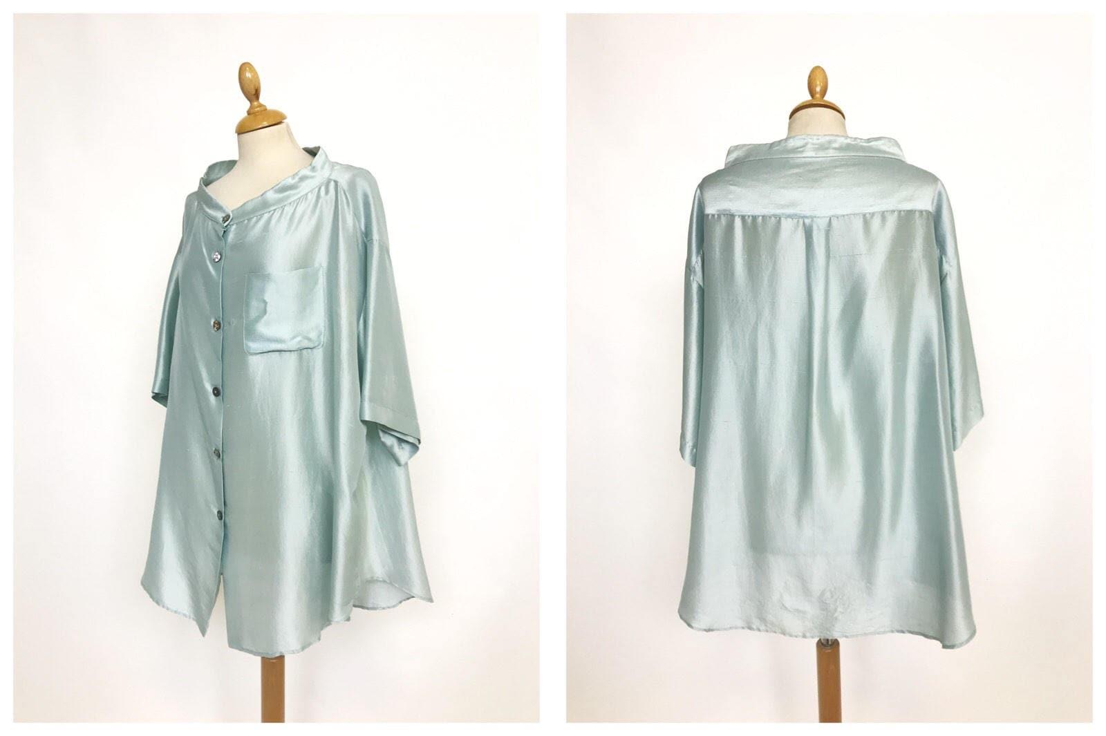 ROMEO GIGLI vintage 1980s 1990s light mint green silk oversize