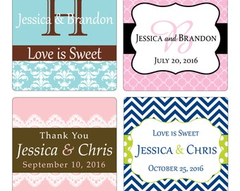 300 2 inch Custom Glossy Waterproof Wedding Stickers Labels - many designs to choose - change designs to any color, wording etc