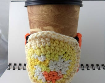 SALE - Black and Orange Crocheted Coffee Cozy with Sunburst Circular Pocket (SWG-A13)