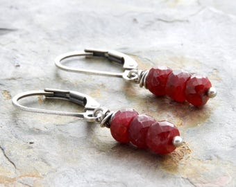 Genuine Ruby Gemstone Earrings - July Birthstone -  Sterling Silver Ruby Earrings - Lightweight Leverback - #4877