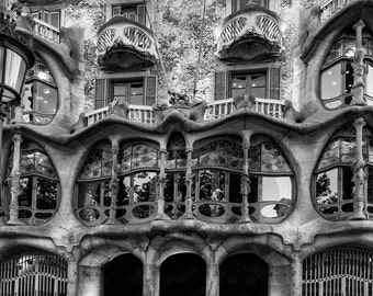 Barcelona Art Print, Window Print, Black and White Photography, Gaudi Print Wall Art, Casa Batllo Picture, Spain Decor, Architectural Print