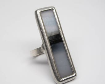 Dark Division - Sterling Silver Stained Glass Ring - Size 7.5