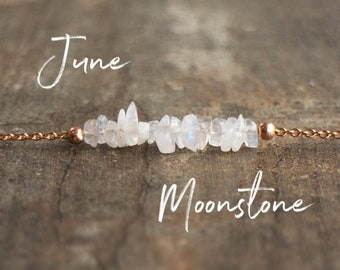 June Birthday Gifts, Moonstone Necklace, Gift for Her, Healing Crystal Necklace, Raw Stone Necklace, Gemstone, June Birthstone Necklace