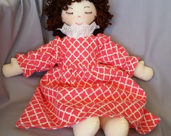 Old fashioned 15 inch cloth doll with sleepy eyes comes dressed in cozy flannel nightgown and hair color of your choice