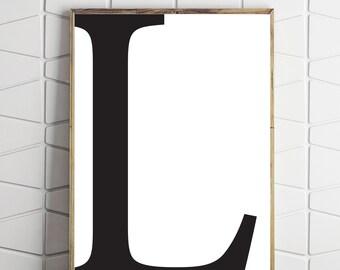 large printable art, l letter art, l printable decor, l download art, l room decor, bedroom art, bedroom printable