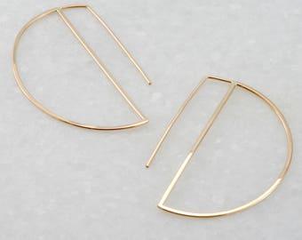 modern crescent earrings, geometric threader earrings, gold fill earrings, half moon earrings, Rachel Wilder Handmade Jewelry