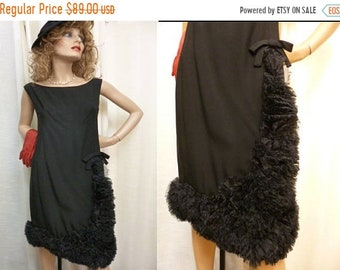 SPRING SALE Little Black Dress, JERRY Silverman, Fabulous Ruffle and Bow Hem Detail, Shannon Rodgers, Designer, I Magnin, 60s,Size M/Large,