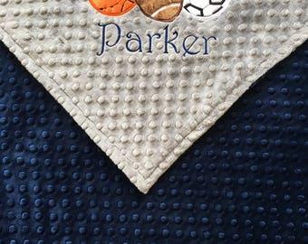 Sports Baby Blanket, Football Blanket, Soccer Blanket, Baseketball Blanket, Sports Nursery, Sports Theme, Personalized Blanket