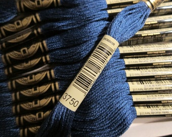 Very Dark Antique Blue #3750, DMC Cotton Embroidery Floss - 8m Skeins - Available in Single Skeins, Larger Pkgs & Full (12 skein) Boxes