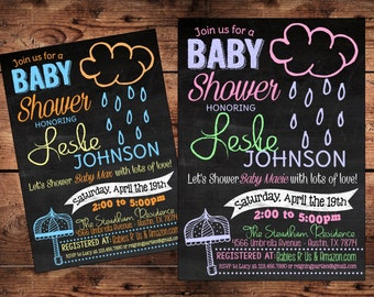 April Showers Baby Shower Invitation - Umbrella Baby Shower Invitation - Digital