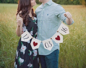 SAVE THE DATE sign - banner - wedding date banner - engagement photo prop - bridal shower decor - wedding photo prop - custom