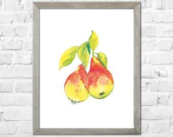 Pears Watercolor Print, Kitchen Wall Decor, Fruit Watercolor Painting, Pears Wall Art, Pears Art, Pears Decor, Kitchen Wall Art