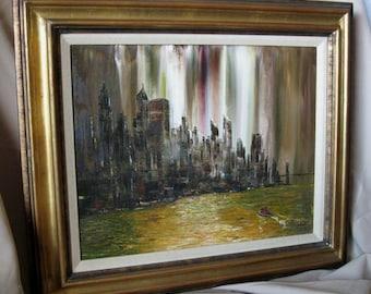 Vintage Original Rare Palette Oil Painting  New York Skyline 1960  by Palette Master Artist Robert Lebron  1928-2013