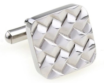 Stainless Steel Cufflinks Tread Maze Cufflinks Diamond Patterned Silver Unique Square Cuff Links
