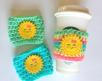 Little Miss Sunshine Cozy ~ Crochet Coffee Cozy ~ Coffee Cozie ~ Reusable Cup Sleeve