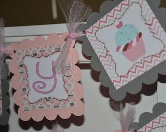 Cupcake banner Happy Birthday banner, sweet shoppe, sweet shoppe banner, pink grey cupcake banner
