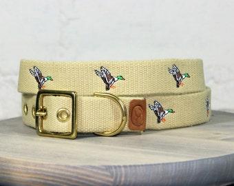 Mallard Ducks Dog Collar - Khaki