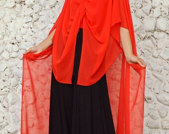 Extravagant Red Top TT87,  Long Summer Top, Sheer Red Duster Tunic
