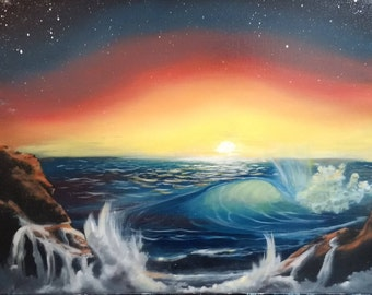 "Original Seascape Oil Painting, Sunset Ocean View, 16""×20""×1/2"""