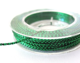 Cord braided metallic 1 mm, coil 10 m Green