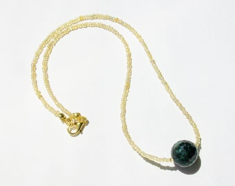 Ruby in Zoisite Necklace - Gold Necklace - Stone Healing