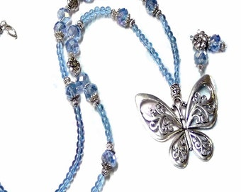 Long necklace and earrings set, Blue crystal, Butterfly charm, choose your fittings