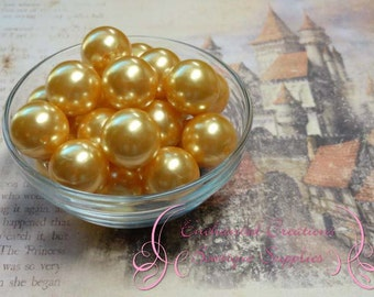 20mm Golden Yellow Acrylic Pearl Beads Qty 10