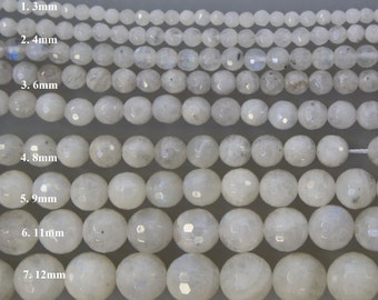 Moon stone Smooth Faceted Round Gemstone Beads -15 inch strand