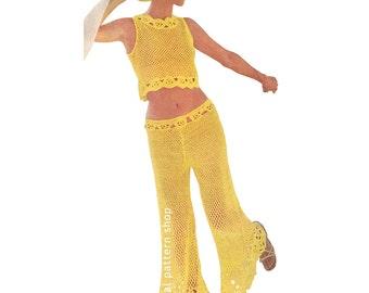Crochet Pattern Crop Top & Pants Vintage Crochet Fishnet Top Bell Bottom Pants Pattern Flower Border PDF Download Size 8 to 14 - C110
