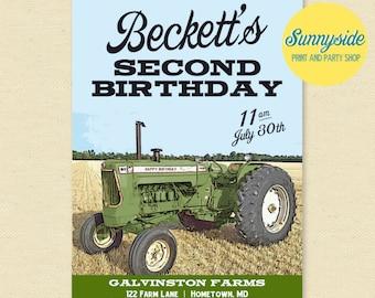Vintage Green Tractor Invitation, Tractor Birthday Party, Boys Printable Farm Invite, Farming Invitations