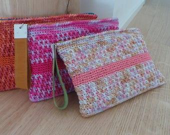 Clutch crochet bag , melange cotton handbag
