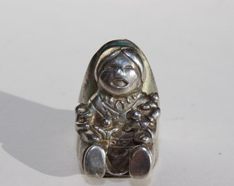 Storyteller Vintage Carol Felley Ring Sterling Silver Native American Indian Big Heavy Statement Jewelry