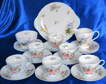 Shelley Art Deco Wild Flowers Tea Set A True Treasure A Perfect Gift, Superb Quality China