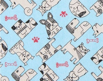 219790 dog animal blue Oxford fabric from Japan