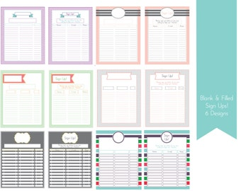 Sign Up Sheets 6 Designs Filled and Unfilled with Editable Text Boxes
