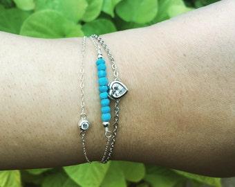dainty heart bracelet, Love bracelet, CZ Bracelet, Crystal bracelet, Heart bracelet, valentines day gift, Friendship bracelet, heart jewelry