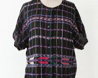 vtg 80s EMBROIDERED shirt - SOUTHWESTERN - native - sz M