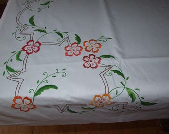 Polish Vintage White & Multicolor Floral Hand Embroidered Tablecloth/Beautiful Cottage Home Decor Tablecloth/Polish Floral Cotton Tablecloth