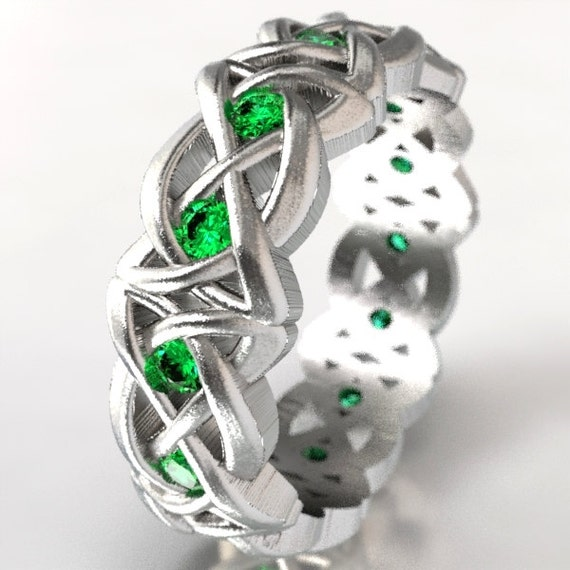 Celtic Cut-Through Dara Style Knot Design in Sterling Silver with Emeralds, Made in Your Size CR-1064