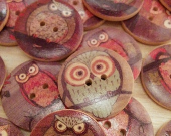 Large Owl Buttons - Set of 3 - Wooden Buttons