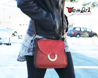 Red and Brown Artisan Handmade Italian Leahter Shoulder Purse