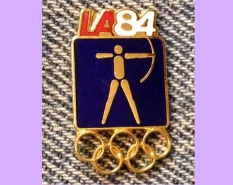 Archery Olympic Pin ~ 1984 Los Angeles ~ LA ~ Blue ~ Pictogram ~ Cloisonné ~ small size version