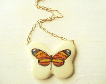 ON SALE Butterfly Necklace 5 in Blue, Yellow & Orange Striped